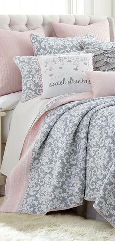 Bring serenity to your daughter's bedroom with the Levtex Margaux collection. Featuring a white floral pattern on a soft gray background with a pink border, this Levtex quilt adds a cute feminine flare to any bedroom. Pink Bedroom Decor, Small Room Bedroom, White Bedroom, Dream Bedroom, Pretty Bedroom, Diy Bedroom, Bedroom Ideas For Small Rooms Women, Kids Rooms, Feminine Bedroom
