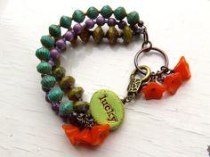 Lucky - handmade bracelet, bead bracelet, green bracelet, turquoise bracelet, chunky bracelet, purple bracelet, inspirational jewelry op Etsy, 39,85€
