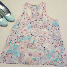 Pastel Floral Top pink, lavender, mint blue & royal blue floral print racerback with ruffle detail Candie's Tops Tank Tops