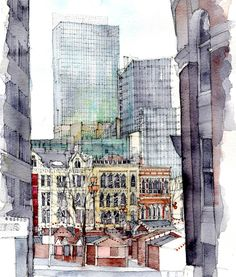 Albert Square, Manchester an architectura lwatercolour by Simone Ridyard Not this much detail but the drawing style perhaps an artist to look at? Moleskine, Pen And Watercolor, Watercolour Painting, Building Art, Sketch Inspiration, Urban Sketchers, Sketch Painting, Cool Sketches, Gravure
