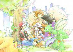 Kids on adventures. Pokemon Firered, Pokemon Manga, Pokemon People, Pokemon Ships, Pokemon Comics, Pokemon Fan Art, Cute Pokemon, Pikachu, Pokemon Images