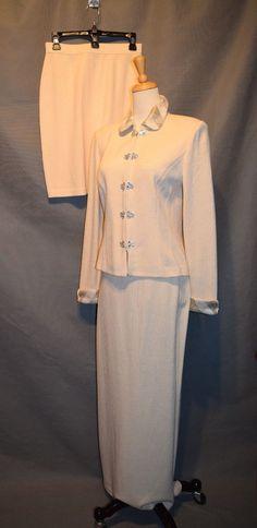 St. John Evening Santana knit size 4 - 3 pc suit long skirt, blazer, rhinestones #StJohn #SkirtSuit