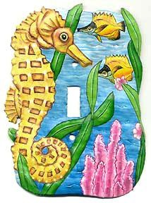 Switchplate Covers - Light Switch Cover, Seahorse Switch Plate Cover - Painted Metal Nautical Design - Switchplate Covers - by SwitchPlateDecor on Etsy Decorative Light Switch Covers, Switch Plate Covers, Light Switch Plates, Painted Metal, Metal Art, Hand Painted, Tropical Design, Tropical Decor, Tropical Fish