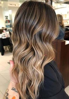Long Wavy Ash-Brown Balayage - 20 Light Brown Hair Color Ideas for Your New Look - The Trending Hairstyle Hair Color 2018, Latest Hair Color, Ombre Hair Color, Brown Hair Colors, Hair 2018, 2018 Color, Brunette Color, Blonde Color, Brunette Hair