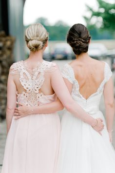 Romantic bridesmaid dress back detail: http://www.stylemepretty.com/destination-weddings/2016/03/15/chic-pastel-garden-wedding-in-belgium/ | Photography: Nadia Meli - http://www.nadiameli.com/