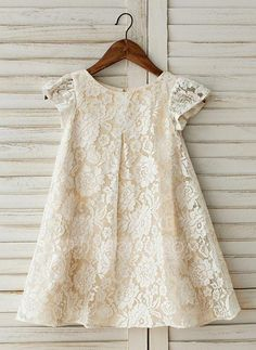 A-Line/Princess Knee-length Flower Girl Dress - Lace Short Sleeves Scoop Neck With Lace - Flower Girl Dresses - JJsHouse Baby Girl Dress Patterns, Baby Dress, Little Girl Dresses, Flower Girl Dresses, Kids Dress Wear, Ladies Dress Design, Lace Shorts, Girl Outfits, Fashion Dresses