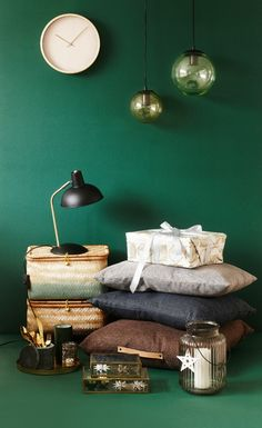Christmas decorations in greens, inspired by Scandi style.