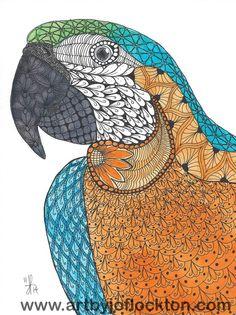 Tangled Brusho Parrot, original art, $19.25