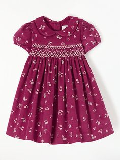 Buy John Lewis & Partners Heirloom Collection Baby Floral Crochet Cord Smock Dress from our Baby & Toddler Dresses & Skirts range at John Lewis & Partners. Smocked Baby Clothes, Girls Smocked Dresses, Little Girl Dresses, Baby Girl Frocks, Frocks For Girls, Toddler Dress, Toddler Outfits, Girl Outfits, Dress Anak