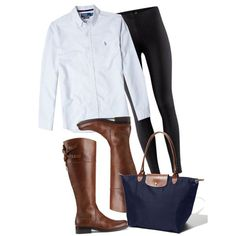 fall outfit - light blue button down top, black leggings, knee high brown boots and navy blue longchamp tote/purse #fall2013