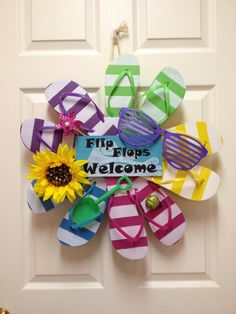 Summer Flip Flop Wreath Striped by CarolineSuzanne on Etsy, $45.00
