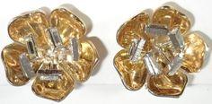 CROWN TRIFARI ALFRED PHILIPPE PAT PEND Flower With Rhinestone Stamens Earrings