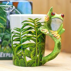 2016 New Arrival High Quality 3D Solid Animal Cup Frog Hand-painted Ceramic Coffee Tea Milk Mug Creative Birthday Gift Copo