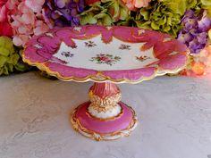 Antique English Paris Porcelain Compote Tazza ~ Pink ~ Gold Gilt ~ Floral Sprays #unknown