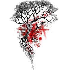 Trash Polka Dead Tree Tattoo Design