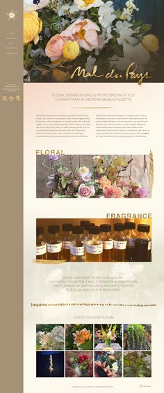 Floral Design Homepage for Mal du Pays by Odd 0 Design Flower Farm, Naturally Beautiful, Cut Flowers, Floral Design, Fragrance, Table Decorations, Missing Home, Floral Patterns
