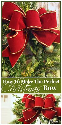 Bows are like lipstick on a wreath… they make them look bright and prettier! I had many request to share how I make what I call… THE CHRISTMAS BOW It's easy and impressive. (How To Make Christmas Bows) Christmas Bows, Simple Christmas, Winter Christmas, All Things Christmas, Christmas Holidays, Christmas Ornaments, How To Tie A Christmas Bow, Christmas Wreaths To Make, Homemade Christmas