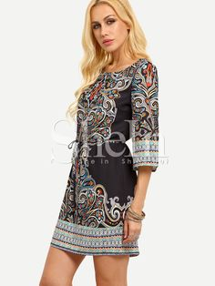 Shop Multiclor Tribal Print Self-Tie Dress online. SheIn offers Multiclor Tribal Print Self-Tie Dress & more to fit your fashionable needs.