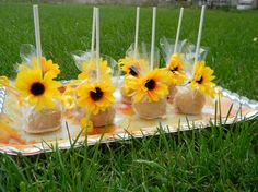 These sunflower chocolate and peanut butter cake pops are so cute! To see more sunflower themed wedding items: http://www.squidoo.com/sunflower-weddings
