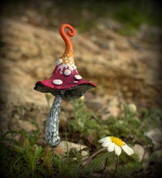 Dark red orange magic mushroom  ,polymer clay toadstool Home decor,Fairy Garden