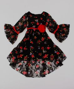 Look at this #zulilyfind! Black & Red Floral Lace Hi-Low Dress - Toddler & Girls by Mia Belle Baby #zulilyfinds