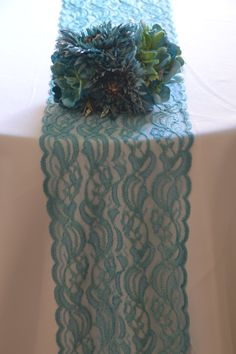 "Aqua LaceTrim 3 FT-12 FT Choose Your Size Floral  Lace 8"" Wide / Perfect Table Runner Lace/ Beach Wedding Barn Wedding/ Blue Turquoise"