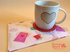 Platzsets - Mug Rug Tassenteppich Becherteppich Tea Time - ein Designerstück von Kreuz_und_Quer bei DaWanda