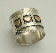 Valentines Ring sterling silver band triple-heart par artisanimpact