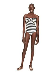 00abb3ebf4933 navy striped bow one piece Kate Spade Swimwear, Model Poses Photography,  Navy Stripes,