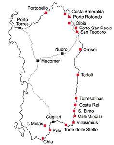 Areas in Sardinia in Sardinia – Sardinien. Beautiful Islands, Beautiful Beaches, Japan Travel, Italy Travel, Travel Route, Holiday Costumes, City That Never Sleeps, City Maps, Night City