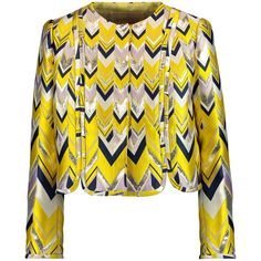 Giambattista Valli Metallic brocade jacket (€615) ❤ liked on Polyvore featuring outerwear, jackets, yellow, snap jacket, yellow jacket, brocade jacket, metallic jacket and multi colored jacket