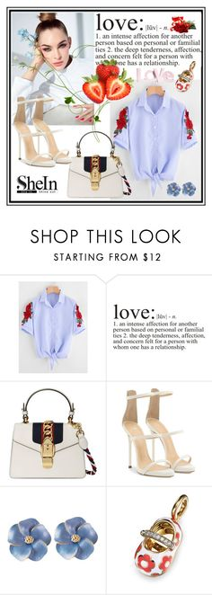 """Knot Hem Blouse"" by edin-levic ❤ liked on Polyvore featuring WALL, Gucci, Giuseppe Zanotti, Aaron Basha and H&M"