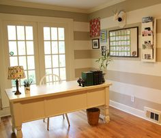 Friday Eye Candy: Your Place   Stylish Office Spaces Love the striped wall and command center.