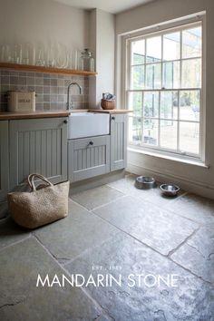 New Kitchen Floor Tile Limestone Ideas Rustic Kitchen Design, Farmhouse Style Kitchen, New Kitchen, Slate Kitchen, Kitchen Decor, Stone Kitchen Floor, Kitchen Island, Country Kitchen Flooring, Farmhouse Door