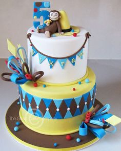 The Great Cake Company: Taking a break. Curious George Cakes, Curious George Party, Curious George Birthday, Pretty Cakes, Cute Cakes, Monkey Birthday Cakes, Monkey Cakes, Cake Company, Cake Business