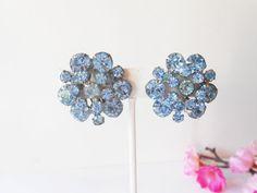 Blue Earrings Vintage Blue Rhinestones by LittleBitsofGlamour