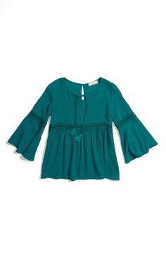 Soprano Lace Trim Tassel Tie Blouse (Big Girls) available at #Nordstrom