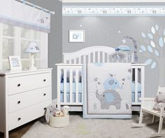 Shop for OptimaBaby Blue Gray Elephant 6 Piece Baby Nursery Crib Bedding Set. Get free delivery On EVERYTHING* Overstock - Your Online Baby Bedding Shop!