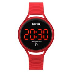 SKMEI 1230 Fashion Men Women Digital Watch Touch Screen LED Display PU Strap Sport Watch at Banggood