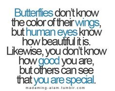 butterflies don't know the color of their wings, but human eyes know how beautiful is is. likewise, you don't know how good you are, but others can see that you are special.