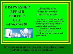 Are you looking for Appliance repair in toronto, scarborough, missisauga and markham area that comes with result? Your looking for a professional that can be trusted and easy to deal. Mechanical or easy repair, our team is here to help you. Avoid paying expensive service or replacement. We have knowledge and expertise on fixing dishwasher.