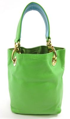 Citrus Lime Green Leather Gold Tone Hardware The Handbag Small