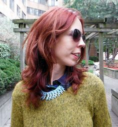 A Casual Statement!: Sweater from @H&M, Necklace from @Shop for Jayu, Shirt from #MforMendocino. Read More!: http://www.thepurplescarf.ca/2013/11/casual-style.layering.fall-outfir.html