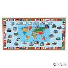 Geography Bulletin Board, World Bulletin Board, Bulletin Board Supplies, Interactive Bulletin Boards, Classroom Bulletin Boards, Interactive Activities, Travel Bulletin Boards, Classroom Tools, Classroom Supplies
