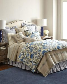 French Laundry Home Iris Floral Bedding. Floral bedding is linen/cotton; striped linens are cotton. $ 135