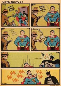 Batman is about to stab Superman with some kryptonite 😂 by Kerry Callen (Super Antics) Heros Comics, Marvel Dc Comics, Funny Comics, Superman Comic, Dc Memes, Funny Memes, Hilarious, It's Funny, Comic Art
