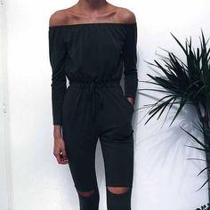 Off Shoulder Long Jumpsuit Women Rompers Sexy Hollow Out Lace Up Bodysuit Overalls Plus Size Playsuit