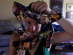 Comic book shoes - Heroes on one side, villains on the other.