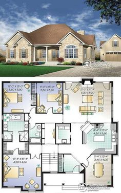 One Level House Plans, Sims House Plans, House Layout Plans, Family House Plans, New House Plans, Dream House Plans, House Layouts, House Floor Plans, House Plans With Pictures