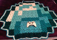 crocheted Minecraft Diamond Blanket   eBay - great use of basic granny squares!